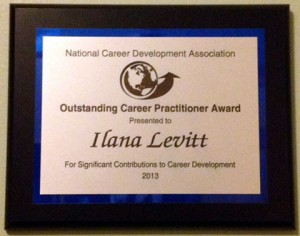 Outstanding Career Practitioner Award received in July of 2013